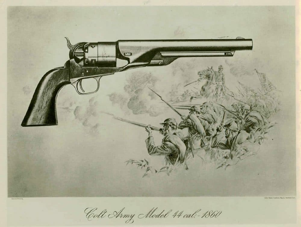 Right side view of an 1860 model Colt Army .44 caliber revolver. Round barrel 8180-SA.1
